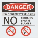 DANGER RISK OF BATTERY EXPLOSION STICKER