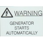 WARNING - GENERATOR STARTS AUTOMATICALLY