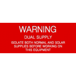 Warning - Dual Supply Equipment